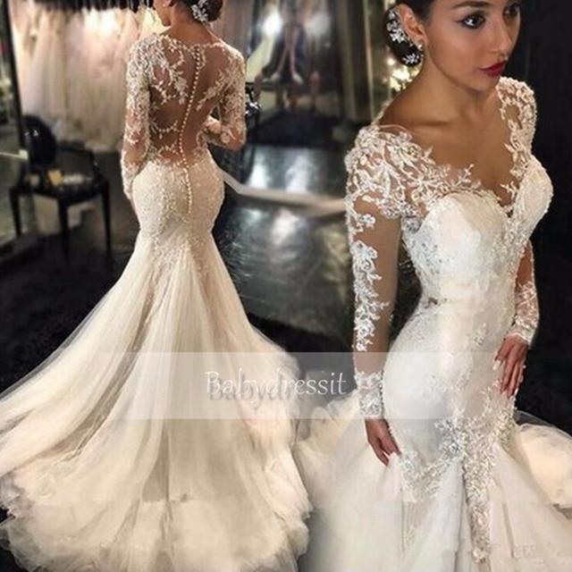 Sexy White Long Sleeve Wedding Dress 2017 Sheer Lace Tulle Floor - Sexy White Wedding Dress