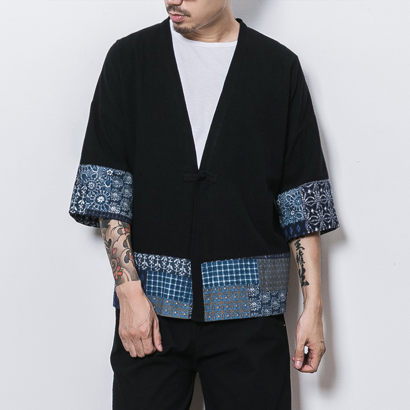 MRDONOO Summer Japanese style kimono robe coat men loose large size seven points sleeve shirt retro Chinese style cardigan 8808