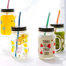 Fruit Printed Transparent Glass Smoothie Tumbler