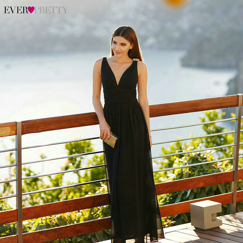 Formal Evening Dresses EP09016 2018 Ever Pretty 14 Colors Sexy A-line Double V Neck Elegant Long Maxi Black Evening Gowns