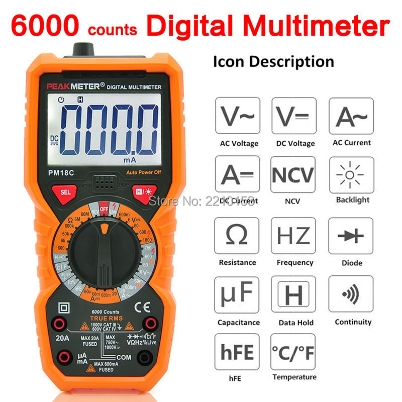 PEAKMETER High Precision 6000 Counts DC/AC Digital Multimeter Resistance Capacitance Frequency Non-contact voltage NCV Tester