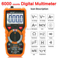 PEAKMETER High Precision 6000 Counts DC/AC Digital Multimeter Resistance Capacitance Frequency Non contact voltage NCV Tester