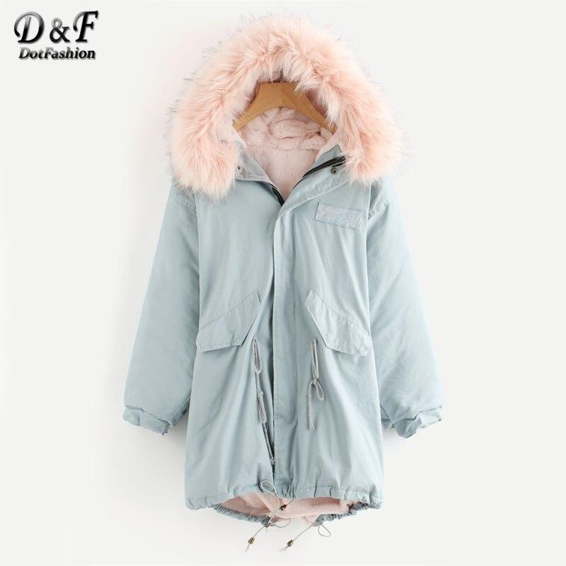 Dotfashion Blue Faux Fur Trim Drawstring Fleece Inside Hooded Coat Woman Long Sleeve Top 2017 New Winter Zipper Long Coat