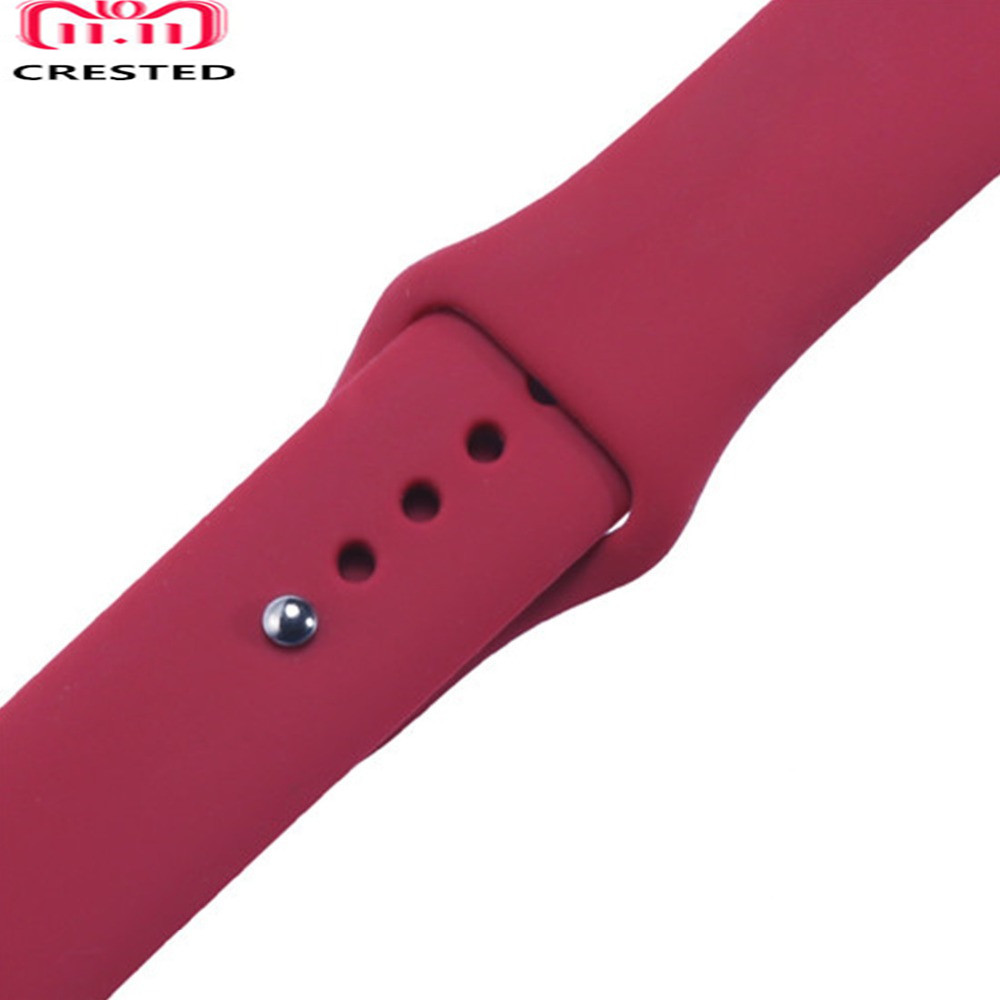 CRESTED Silicone Sport strap For Apple watch band 38mm 42mm iwatch series 3 2 1 rubber wrist bands Bracelet smart watchband belt crested crazy horse strap for apple watch band 42mm 38mm iwatch series 3 2 1 leather straps wrist bands watchband bracelet belt