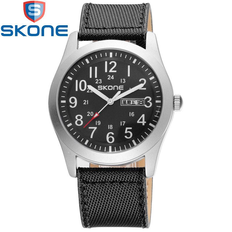 SKONE Nylon Watches Men Waterproof Sport Watch Men's Military Watch for Male Clock Analog Quartz Wristwatch Relogio Masculino skone relogio 9385