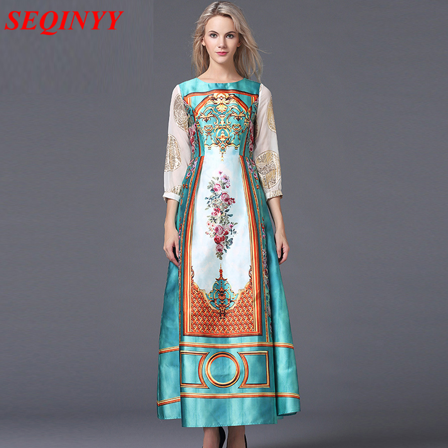 Luxury Long Dresses 2016 Fall Europe Fashion New Russian Style Sequins Long Sleeve Vintage Print