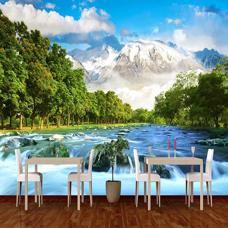 Custom 3D Wall Mural Wallpaper Snow Mountain Scenery Photography Background Photo Wallpaper For Living Room Bedroom Decoration