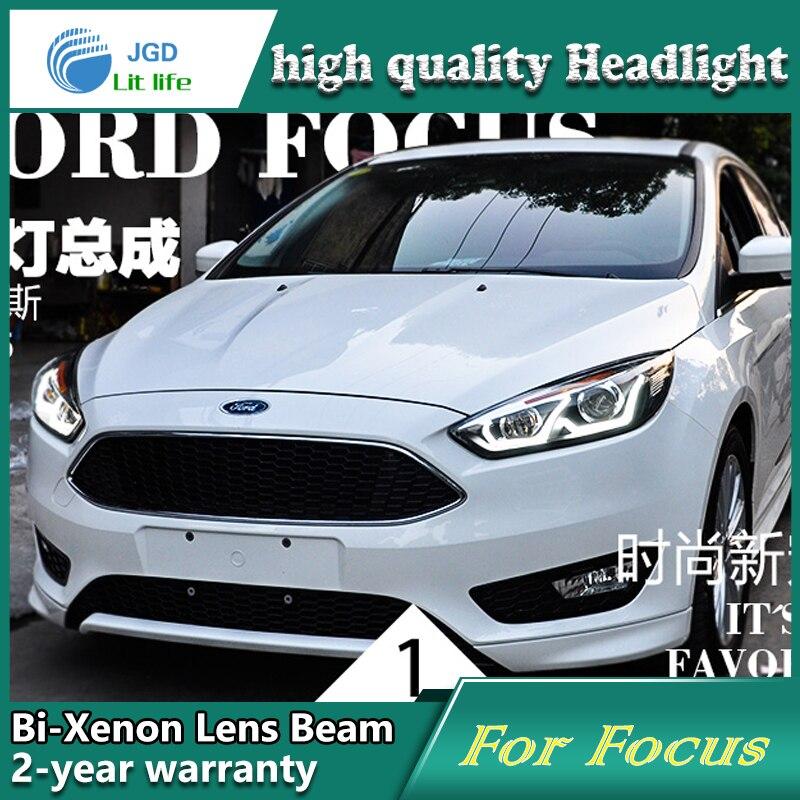 Car Styling Testa Della Lampada per Ford Focus 2015 Fari A LED Faro DRL Lens Doppio Fascio Bi-Xenon HID Accessori auto
