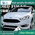 Estilo do carro Head Lamp capa para Ford Focus 2015 Faróis de LED Farol DRL Lente Feixe Duplo Bi-Xenon HID Acessórios do carro