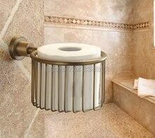 Античная Латунь Ванной Настенные держатель Туалетной Бумаги Держатель Рулона Держатель Ткани Корзина Wba027