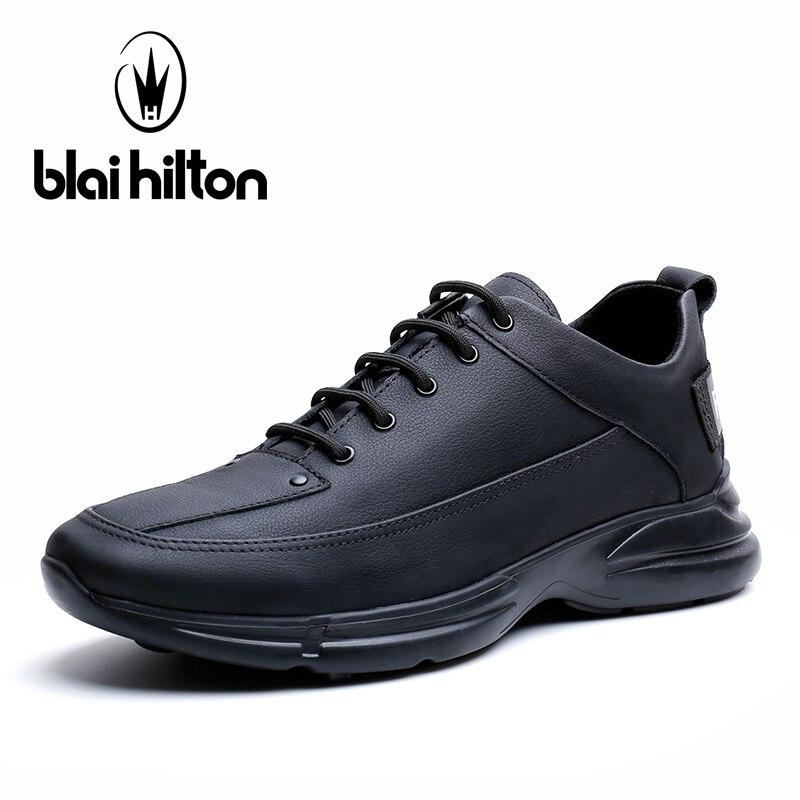 Blai Hilton 2018 New Fashion 100% Luxury Genuine Leather Spring/Autumn men shoes Breathable/Comfortable Men's Casual Shoes new 2018 spring autumn 100