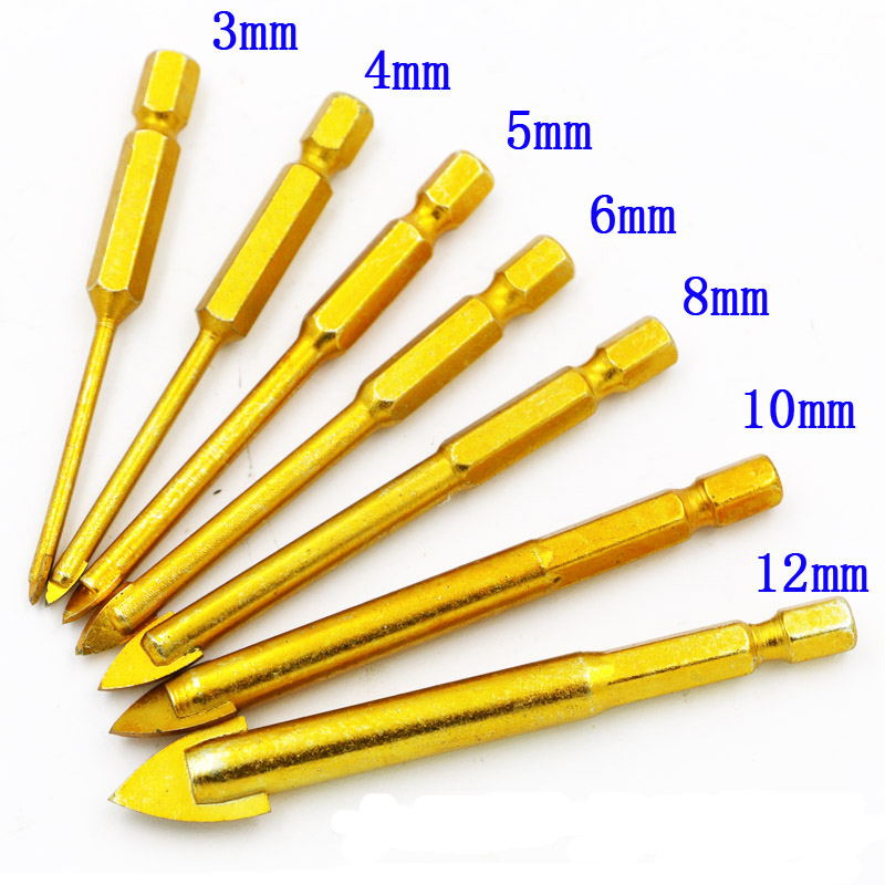 Titanium Coated Glass Drill Bits Set 3mm 4mm 5mm 6mm 8mm 10mm 12mm With Hex Shank For Ceramic Tile Marble Mirror&Glass