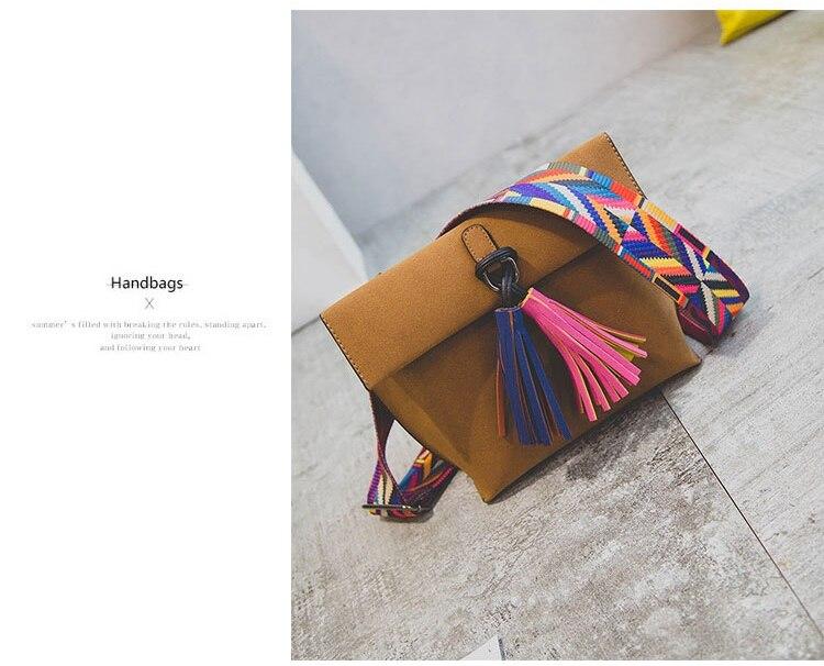 4dbfc92d4db9 Miyahouse Women Scrub Leather Design Crossbody Bag Girls With Tassel  Colorful Strap Shoulder Bag Female Small Flap Handbag