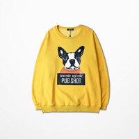 Hip Hop Pullovers Fleece Warm Clothing Yellow Pink Cp Sweatshirts Chic Slogan Pug Shot New York Dog Print Hoodie Asia Size