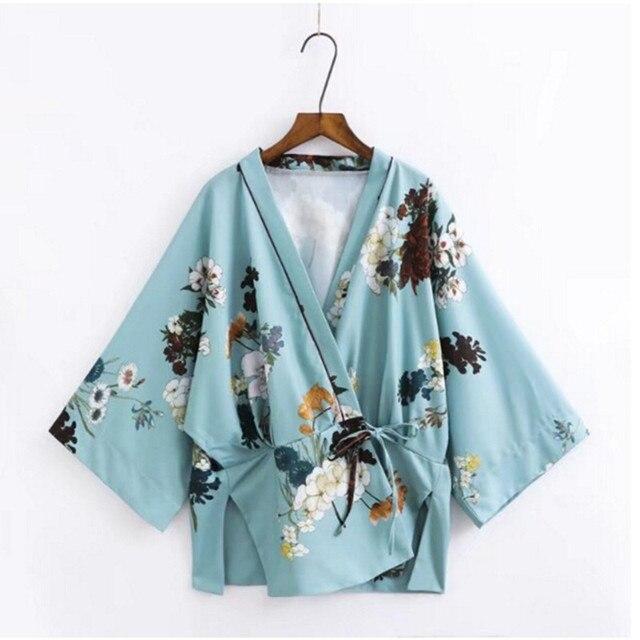 Taille Vintage Arc Fleur Kimono Femme Cravate 2017 Chemise Imprimer XuPikZ