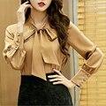 Primavera gasa de las mujeres blusa de estilo Europeo de alta calidad arco o cuello de manga larga mujer blusa camisas de las señoras de moda pure color E343