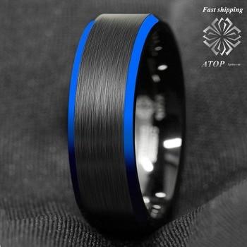 f33fb9b4a333 8mm negro cepillado borde azul de carburo de tungsteno anillo de bodas banda  encima de anillo para hombre envío gratis