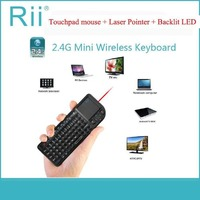 Rii V3 Wireless Keyboard 2.4G RF Touchpad With LED Backlight Laser Pointer Combo Handheld for presentations gaming Smart TV