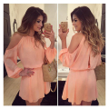 LASPERAL 2017 New Sexy Off-Shoulder Dress Solid Lantern Sleeve Hollow Out Summer Dress For Women Mini Dress Pink O-Neck Elegant