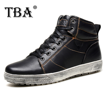 TBA New Fashion Men's Genuine Leather Ankle Short Boots Winter & Autumn All-Match Casual Shoes Male Lace Up British Martin Boots