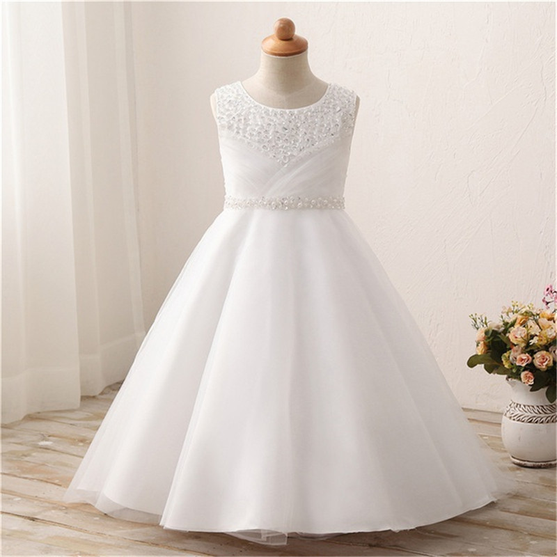 Tulle A Line Beading   Flower     Girl     Dresses   for Wedding First Communion   Dresses   Wedding Party   Dress   Runway Show Pageant Danceway