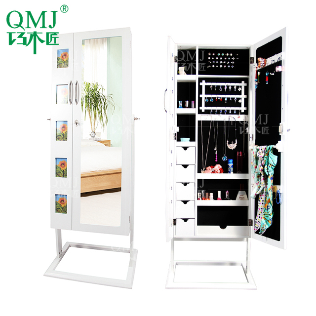NEW Luxury Large floor standing mirror white jewelry armoire cheval ...