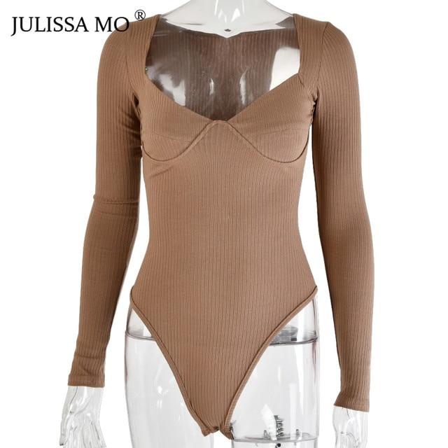 JULISSA MO Rib Knitted Long Sleeve Bodysuit   4