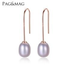 PAG MAG Simple Ear Hook 925 Sterling Silver Earrings 8 9mm Natural Rice Pearl Drop Earrings