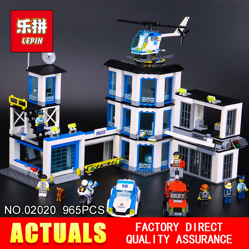LEPIN 02020 965Pcs City Series The New Police Station Set Children Educational Building Blocks Bricks Toys Model for Gift 60141 lepin 02006 815pcs city series police sea prison island model building blocks bricks toys for children gift 60130
