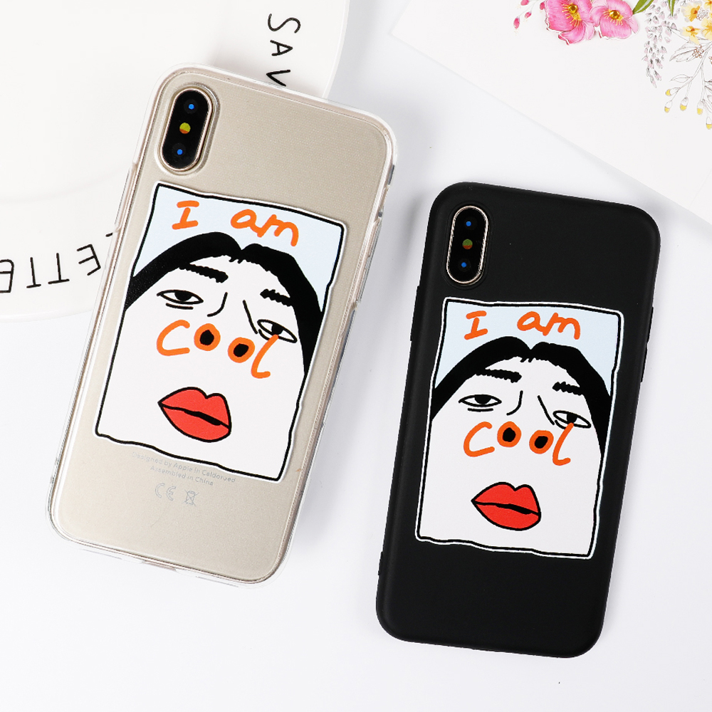 LOVECOM Phone Case For iPhone 6 6S 7 8 Plus X Cool Cartoon Sexy Lips Character Transparent Soft TPU Phone Back Cover Cases