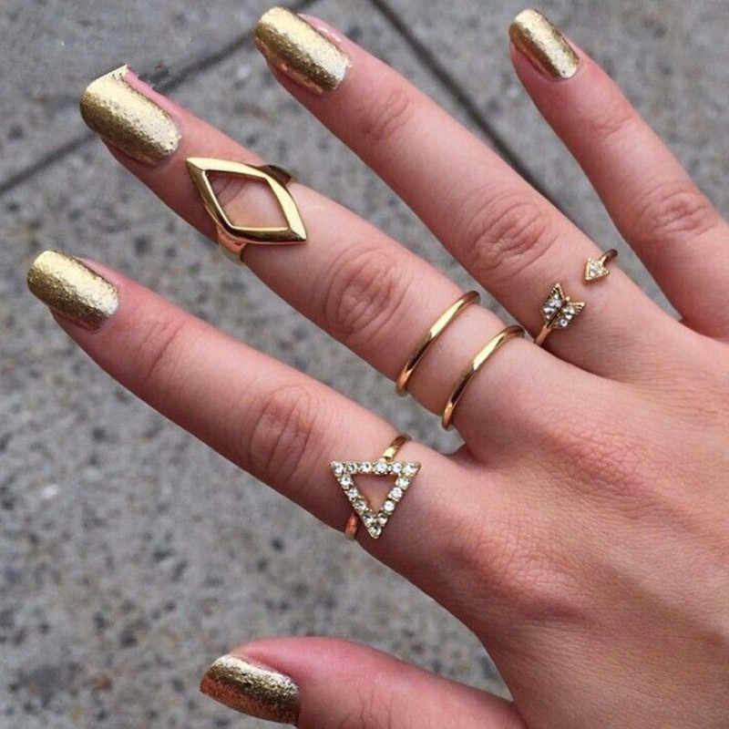 5pcs/set Charming Punk Rock  Arrows Triangle Ring Sets Gold & Silver Color Crystal Rings for Women Fashion Jewelry Wholesale