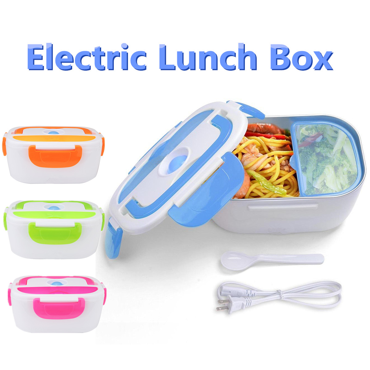 Portable Car Electric Lunch Box 1.5 L Food Storage Container Heater Food Warmer Hot Rice Cooker Traveling Meal Heater 40W 110V portable 12v car electric heating lunch box rice cooker food warmer 1 05l 40w