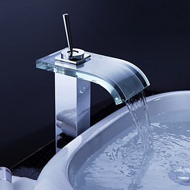 Robinet Glass Contemporary Waterfall Bathroom Sink Faucet Tap Chrome Finish ,Torneira Para De Banheiro Modocomando unleashed