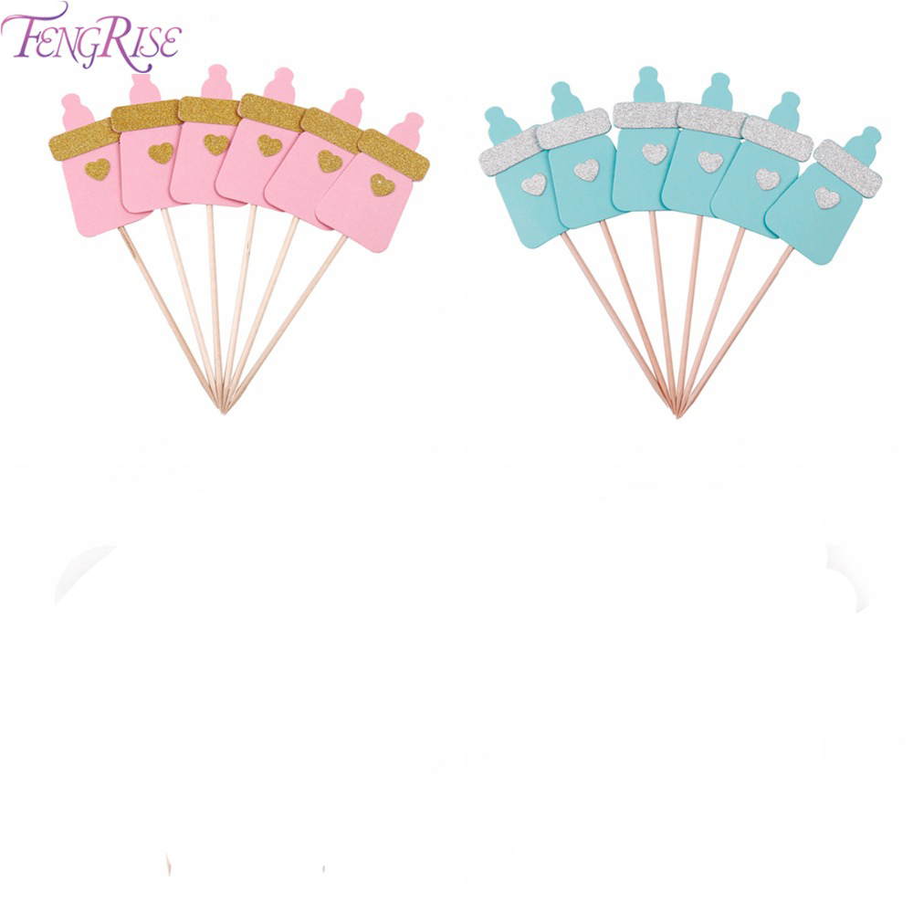 FENGRISE Flamingo Cake Toppers 1st Birthday Decoration Shower Baby Kids Favors Baby Feeding Bottles Christening Party Supplies