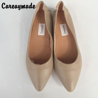 גבירותיי נעליים עם נעלי פה רדוד טהור Careaymade-2018 אופנה עור אמיתי שכבה העליונה עם נעליים מחודדות נעלי שפל
