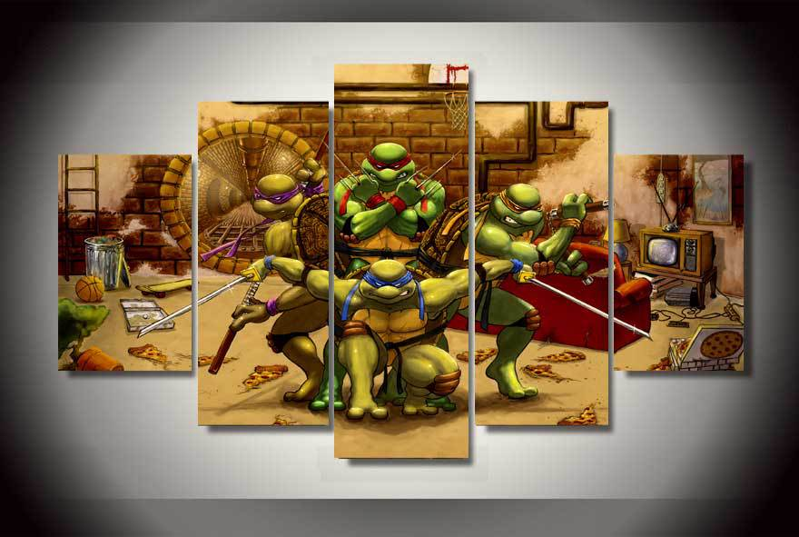 Wall Art 5pcs Framed Teenage Mutant Ninja Turtles Oil Painting Room ...