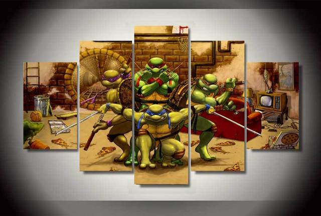 Wall Art 5pcs Framed Age Mutant Ninja Turtles Oil Painting Room Decor Print Picture Canvas Living