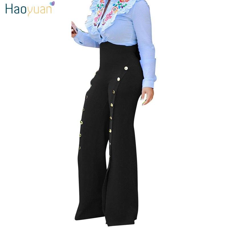 HAOYUAN High Waist   Wide     Leg     Pants   2017 Fashion Women Flare White   Pants   Summer Trousers Sexy Split Loose Side Button Palazzo   Pant