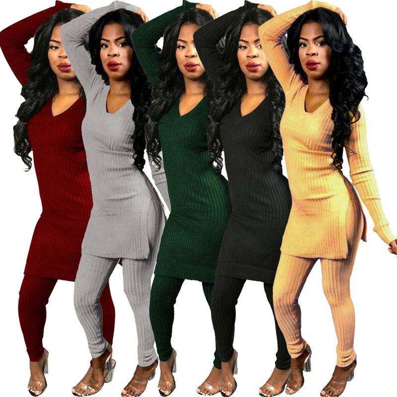Elegant Sexy Two Piece Set Top And Pants Autumn Outfits Tracksuit Women Sweater Ribbed Office Lady Ensemble Femme Dos Piezas