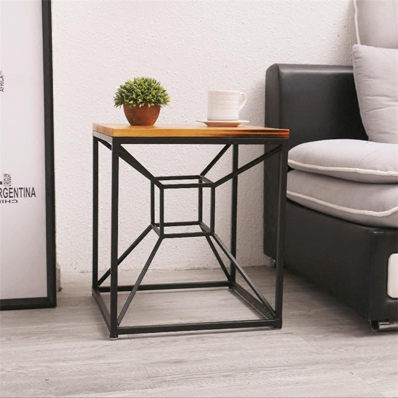 Customized Square Metal Tea Table Unique Creative Side Table Coffee Table american art hardware toughened glass tea table creative tea table rectangular coffee table