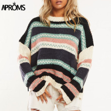 Aproms Multi Striped Print Loose Pullovers Sweaters Women Autumn Winter Drop Shoulder Ribbed Knitted Jumper Outerwear Top 2019 недорого