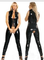 New Sexy Women Faux Leather Bodysuit Open Crotch Erotic Latex Catsuit Bodycon Fetish Jumpsuit PVC Bodysuit