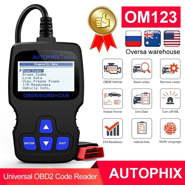 Autophix OM123 OBD2 סורק רכב כלי אבחון OBD 2 סורק רכב ODB קוד קורא PK ELM327 1.5 CR3001