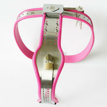 Stainless Steel Pink Chastity Belt Enforcer Chastity Device BDSM Sex Toys Female Chastity Belt Adjustable For Women Metal Underw