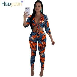b4af675f103 HAOYUAN Two Piece Set Women Tops Pants 2 Piece Tracksuit