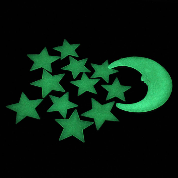 New Moon Stars Color Glow In The Dark Luminous Fluorescent Stickers Decal Lucky