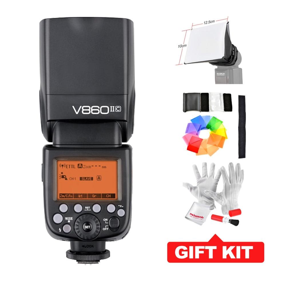 Godox V860II-C V860IIC Speedlite Flash GN60 TTL HSS 1 / 8000s w / 2.4G bezdrátový X systém 20-200mm Zoom Flash Pokrytí pro Canon