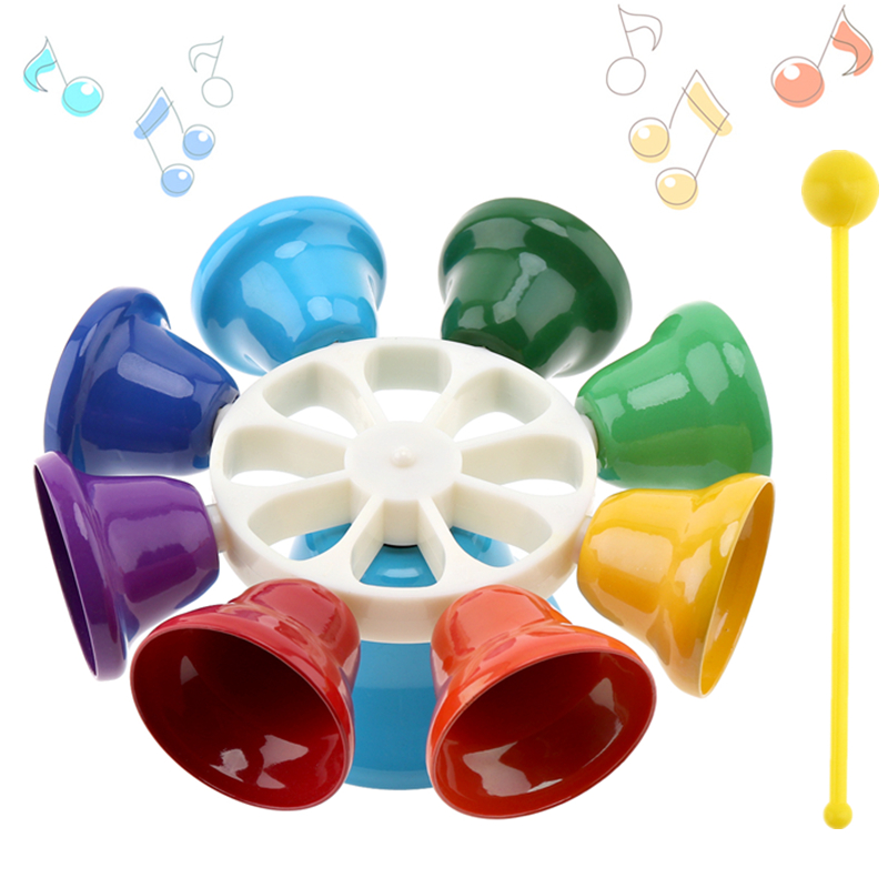Colorful 8 Note Percussion Bell Hand Bell Musical Toy Children Baby Early Education Musical Instrument For Kids
