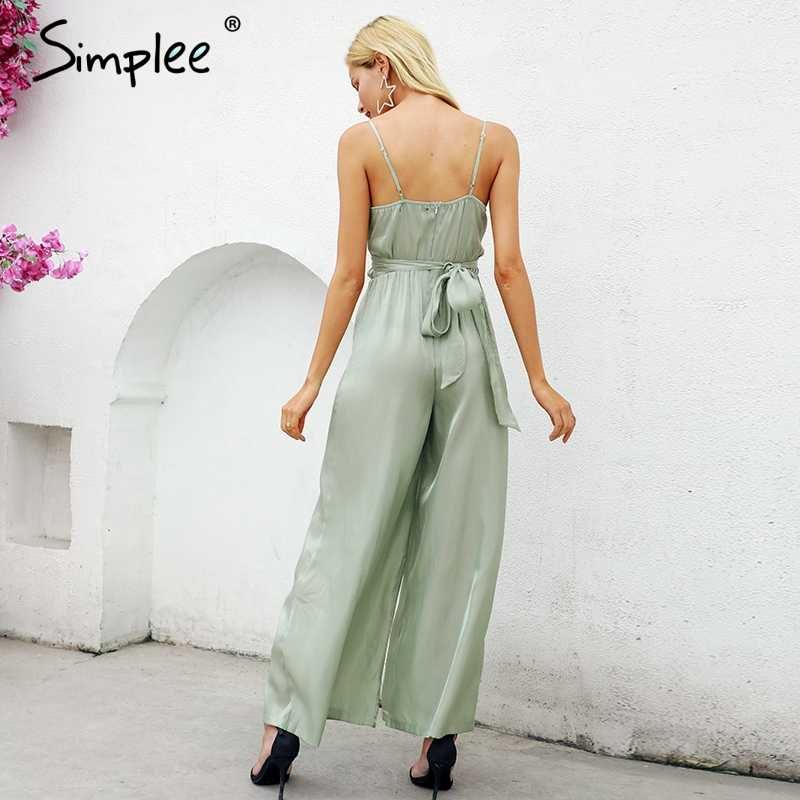 5526bfd222c ... Simplee Elegant v-neck lining women jumpsuit Solid satin bandage zipper jumpsuit  playsuit Summer casual ...