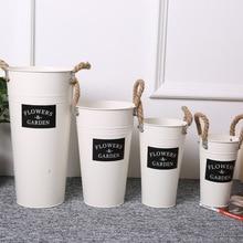 Iron Flower Tub Hemp Rope Handles  Garden Vintage Vase Pot Plants Bucket Planter Decor Artificial flower